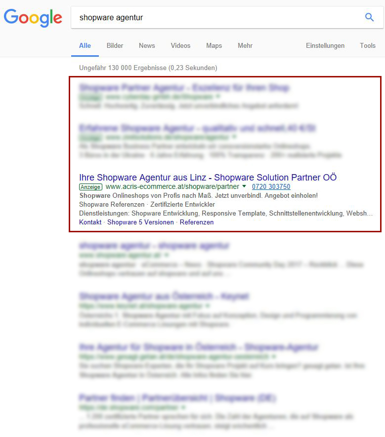 Screenshot Google Ads Anzeige